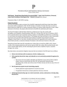 """Staff Report: """"Broad Street Road Safety Assessment (RSA)""""– Upper South Providence, Elmwood, Lower South Providence, Washington Park – Wards 9, 10, and 11 (For Action) Presented at May 17, 2017 BPAC meeting Projec"""