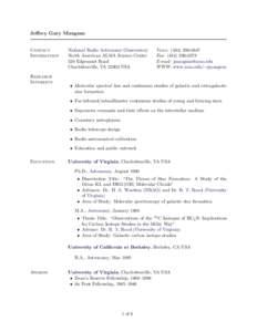 Jeffrey Gary Mangum  Contact Information  Research