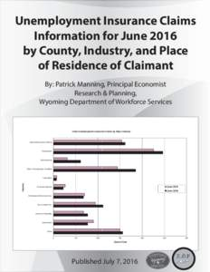 Unemployment Insurance Claims Information for June 2016 by County, Industry, and Place of Residence of Claimant By: Patrick Manning, Principal Economist Research & Planning,