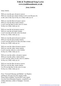 Jenny jenkins song lyrics