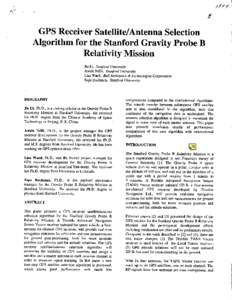 GPS Receiver Satellite/Antenna Selection Algorithm for the Stanford Gravity Probe B Relativity Mission
