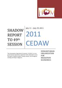 SHADOW REPORT TO 49th SESSION  July 11 – July 29, 2011