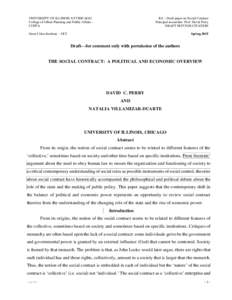 RA – Draft paper on Social Contract Principal researcher: Prof. David Perry DRAFT NOT FOR CITATION UNIVERSITY OF ILLINOIS AT CHICAGO College of Urban Planning and Public Affairs CUPPA