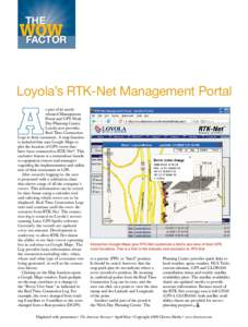 THE  WOW Factor Loyola's RTK-Net Management Portal s part of its newlyreleased Management
