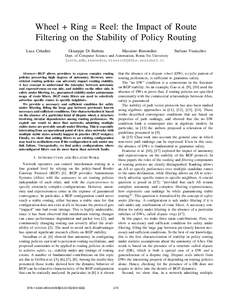 Wheel + Ring = Reel: the Impact of Route Filtering on the Stability of Policy Routing Luca Cittadini Giuseppe Di Battista