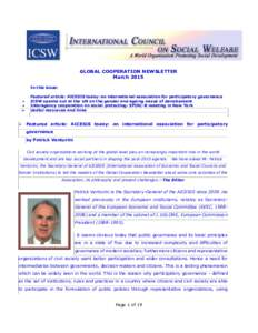 GLOBAL COOPERATION NEWSLETTER March 2015 In this issue:   
